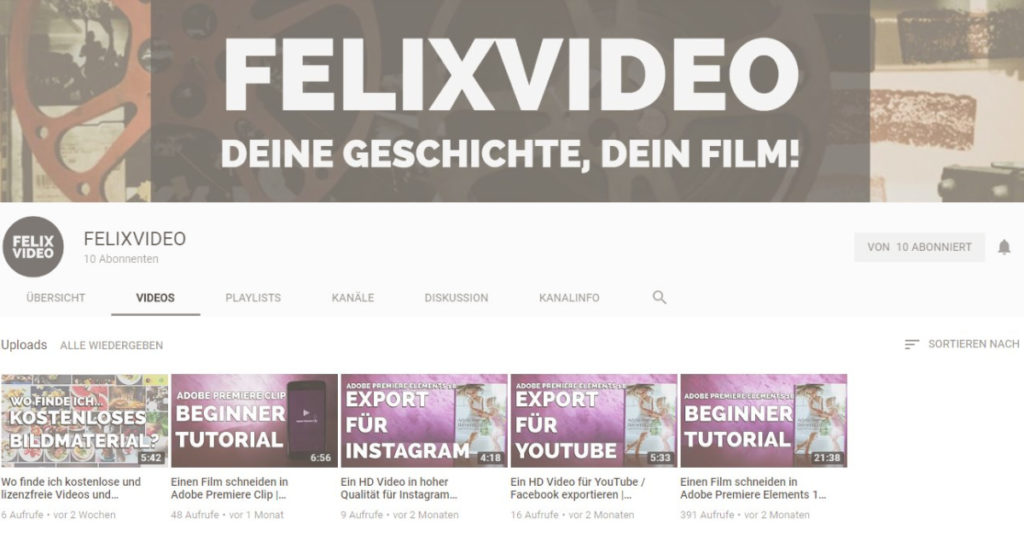 FELIXVIDEO Screenshot vom YouTube Kanal
